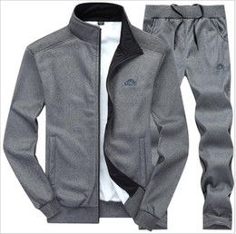 Polo Sportswear Australia - Mens tracksuit Set 2018 Sportswear Exercise Polo Suit Autumn Men Sweatshirt Jogger Pants Set Sudaderas Hombre Joggers Suits Male