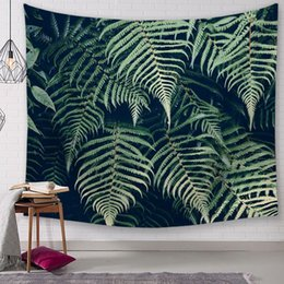 spring handmade decorations NZ - green plant leaf leaves tapestry spring summer wall art mural decoration tropical fern hanging carpet house salon decor