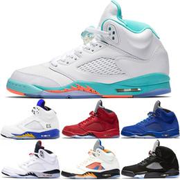 e3fb6e378ae0 Light Aqua Laney 5 Men Women Basketball Shoes 5s International Flight Blue  Red Suede White Cement OG Black Designer Sport Sneaker Size 36-47