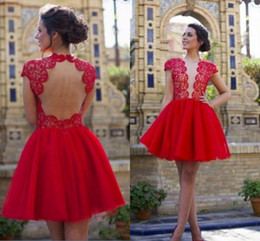 f7ab33a7948 Lace Top Sheer V Neck Homecoming Dresses Cap Sleeves Formal Party Gowns  Short Prom Dresses Backless 8th Grade Junior Girls Cocktail Dress