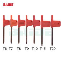 Großhandel T6 T7 T8 T9 T10 T15 T20 Torx Schraubendreher Schlüssel Kleine Rote Flagge Schraubendreher Werkzeuge 200 teile / los