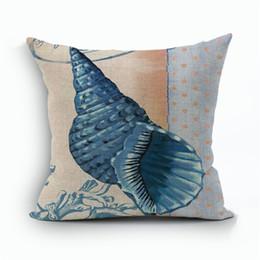 Chinese  Starfish Shell Mediterranean Wind Seabird Cotton Linen Pillow Case Man Woman Bedroom Sofa Soft Cushion Cover Bedding Supplies 9kz bb manufacturers