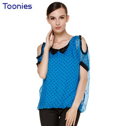 Blue Hollow NZ - Summer New Style Hollow Out Shoulder Blouses Polka Dot Strapless Tops Sexy All-match Female Shirt Short Sleeved Blue Sweet Blusa