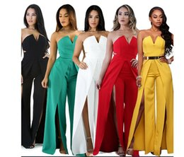Chinese  New women jumpsuits Spring Sexy Deep V Neck Bandage Sleeveless Suit Women Slim Pencil Pants Bodycon 2 Piece Set Ladies Tracksuits pants manufacturers