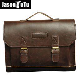 $enCountryForm.capitalKeyWord Canada - JASON TUTU Brand Mens Leather Handbag Business Men Briefcase Laptop bag Large Mens classic Shoulder Bags sac a main B146