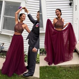 08c7ae664e463f Stunning Burgundy Two Pieces Prom Dress Long Beaded Crop Top Jewel Neck  Tulle Skirt Burgundy Evening Party Gowns Custom Made