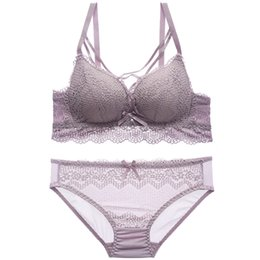 9a3f8f7d8f New Arrival Bra Set Push Up Bra sets thin cup wireless women Lingerie Sets  young girls lace cross Underwear Sexy Bra And Panty