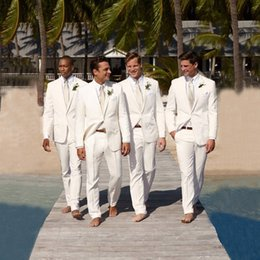 images blazers for white wedding Canada - 2018 Linen Beach Wedding Suits for Groom Ivory Groomsmen White Blazers Slim Fit Groom Tuxedos Bridegroom 2 Pieces Jacket Pants Classic Suit