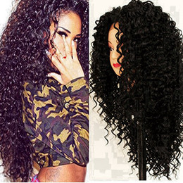Kanekalon Lace Wigs NZ - Short Afro Kinky Curly Wig Heat Resistent Synthetic Wig For Black Women Front Lace Black Wigs Kanekalon Hair soft touch hair