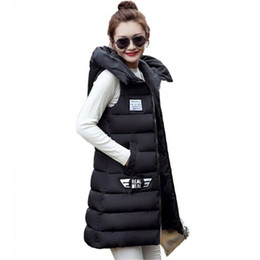 Discount womens hooded winter vest - Women Winter Vest Waistcoat 2017 Womens Long Vest Sleeveless Jacket Hooded Down Cotton Warm Female Plus Size Causal ZY32