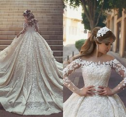 06bb95c1df2 2018 Gorgeous African Luxury Lace Wedding Dresses Sheer Jewel Neck Long  Sleeve Cathedral Train Appliques Bridal Gowns Plus Size Customized