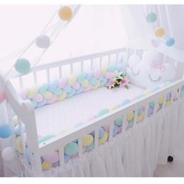Опт 300 см длина детская кроватка протектор узел детская кровать бампер ткачество плюшевые кроватки подушка для новорожденных четыре связали веревку кровать бампер