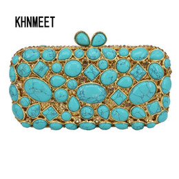 clutch bag party green Australia - Cobblestone turquoise Clutch Bag Women Diamond Evening Bag Crystal Pochette Purse light green Bling Wedding Party Handbag sc459 Y18103004