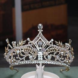 $enCountryForm.capitalKeyWord Australia - Classic luxurious crown wedding bridle headwear gold crystal ornament bridal ornament