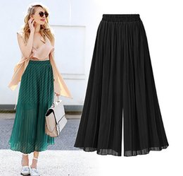 $enCountryForm.capitalKeyWord Canada - New Chiffon Pants Pleated Tall Waist Show Thin Nine Points wide-legged Pants Elastic High Waist Casual