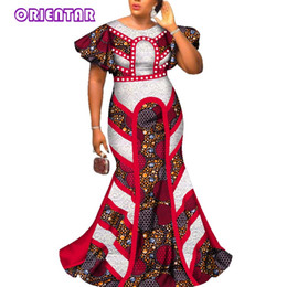 Discount african wedding dresses bazin - 2018 Fashion Long Dresses For Womeno-neck Butterfly Sleeve Party Dress African Bazin Riche Femme Wedding Evening Dress W