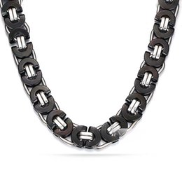 $enCountryForm.capitalKeyWord NZ - EURO-US Hip Hop Mens Necklace Chain 11MM Wide 22inch Black Stainless Steel Byzantine Chain For Men Jewelry