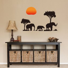 Discount green black bedroom - Elephant Shadow Wall Sticker Wallpaper Wall Picture Art Vintage Room Home Decor Kitchen Accessories Household Craft Supp