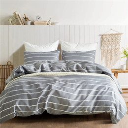 Discount chinese quilt covers Gray-White Striped Pattern Polyester 2 3Pcs USA Twin Queen King Bedding Sets Kids Duvet Cover Set Quilt Cover Bed Set Be