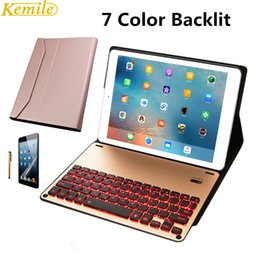 Discount aluminum ipad bluetooth case - Kemile Removable 7 Color backlit Wireless Bluetooth Luxury Aluminum Alloy Keyboard for iPad Pro 10.5 inch Keypad with Ca