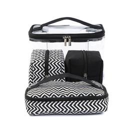Multi-função Cosmética Saco de PVC Transparente Portátil Combinado quatro peças terno Lavagem sacos de Viagem bolsa de Mala de Receber Lona