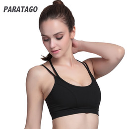 624d5d6d5d5a6 PARATAGO Women Yoga Bra Fitness Gym Tops Cross Bandage Running Exercise  Sports Underwear Strappy Shockproof Tank Tops PT107