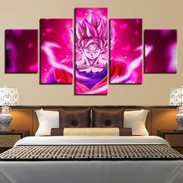 $enCountryForm.capitalKeyWord NZ - Living Room Wall Decor Printed HD Picture 5 Pieces Anime Cartoon Dragon Ball Poster Modern Modular Canvas Painting Art Framework
