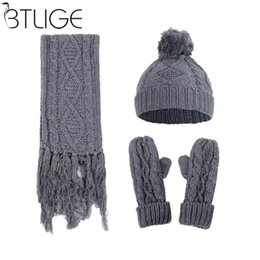 Discount designer scarf set - Brand Designer Women Scarf Hat Gloves Set  Three-Pieces Winter a333116b3cb7