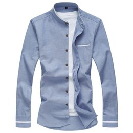 Wholesale blue oxford casual shirt men resale online - Chinese Style Pure Color Oxford Shirt Men Fashion Mandarin Collar Shirt Long Sleeve Casual Social Male Denim Blue XL XL
