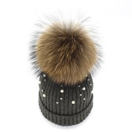 Dog hat women online shopping - Women Ball Top Racoon Dog Warm Pearl Beanies Curling Wind Proof Wool Cap Outdoor Travel Winter Knitted Hat ch ff