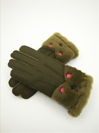 leather wrist gloves NZ - Women Winter Wind and Frost Protection Gloves Genuine Leather Warmth Gloves Winter Essential Leather Wool Gloves