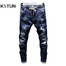slim tapered jeans NZ - KSTUN New Arrivals Jeans Men's Stretch Biker Ripped Pants Blue Drawstring Slim Fit Tapered Torn Distressed Boys Student Joggers D18102306