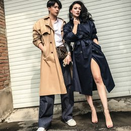2c95b0211f6 le palais vintage 2017 Autumn Stylish Couples Section Long Trench Loose  Type Double Breasted One Size Fits All