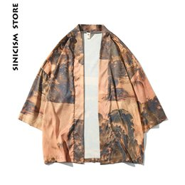 mens windbreaker jackets UK - Sinicism Store Mens Jacket Coat Summer Kimono Ink Print Coat Vintage Windbreaker Male Jackets Clothes 2018