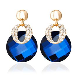 $enCountryForm.capitalKeyWord UK - Trending Style High Quality Wholesale Ear Jewelry 3 Colors Ear Stud Colorful Rhinestone Pendant Earrings For Women