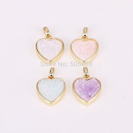 $enCountryForm.capitalKeyWord Australia - 10PCS ZYZ294-9966 Gold Color Heart Bezel Natural Titanium Quartz Stone Drusy Pendant Charms for Necklace Women Fashion Jewelry