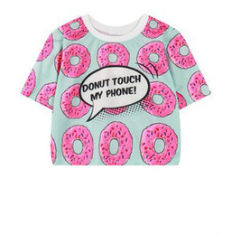 fashion for short girls NZ - Fashion Donut Printed Tshirt Sweet Fresh Style Cartoon Print Short Style Shirt Tees For Girl Harajuku Short Sleeve Tops