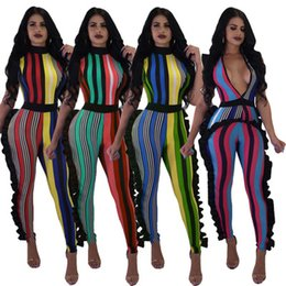 $enCountryForm.capitalKeyWord Australia - 2018 Summer Women deep V sexy Jumpsuit Rompers Striped Ruffles Catsuit Female Skinny Overalls Party Club Bodycon Romper