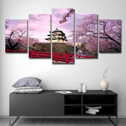 $enCountryForm.capitalKeyWord Canada - Canvas Wall Art Modular Pictures HD Printed Poster 5 Pieces Home Decor Cherry Blossoms Castle And House Paintings