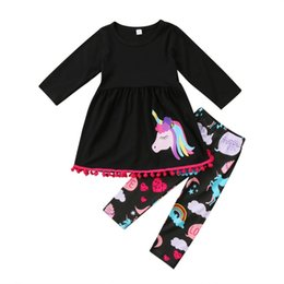 7940e1aff Unicorn Kids Baby Girls Outfits Clothes T-shirt Tops Dress +Long Pants 2PCS  Set tassels colorful fancy kid clothing set