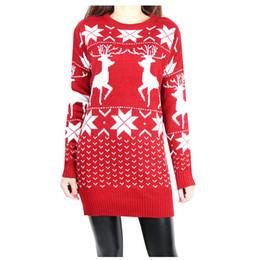 0bb7d7b20526 Wholesale- Fashion Women s Snowflake Deer Dress Slim Fit Long Sleeve Round  Neck Christmas Knitwear Sweater Dress for Female Hot Sale Free Sh