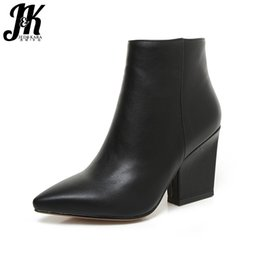 Wholesale JK Mature Pointed Toe Ankle Boots New Arrival Autumn Winter Boots Women s High Heel Shoes Add Fur Side Zip Female Footwear