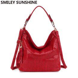 Big Ladies Handbags Australia - Smiley Sunshine Brand Serpentine Leather Women Handbags Hobo Tote Bag Female Tassel Big Women Shoulder Bags Ladies Crossobdy Bag