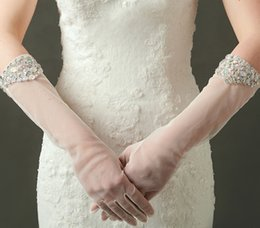 Elbow Length Australia - Below Elbow Length Long Bridal Gloves Crystal Beads Sequin Full Finger Gloves for Party Evening Weddings Bridal Accessories In Stock
