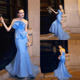 Chinese  Latest Light Blue Mermaid Evening Dresses Charming Strapless Big Bow Design Backless Prom Dress Runway Fashion Designer Gowns manufacturers