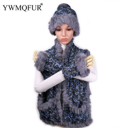 c51e703d5e69c YWMQFUR Winter Warm Rabbit Fur Hat Scarf Gloves Sets For Women Fashion  Female Beanies Caps Lady Thick Scarves Gloves New Arrival