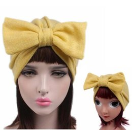Jersey cotton scarf online shopping - NEW Parent child Jersey Bow Turban Baby Kids Headcover Hat Fashion Women Bowknot Cap Girls Boho Hat Beanie Scarf Turban Head Wrap Cap