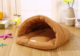 gray sofa beds Canada - Hot! Pet Cat Bed Small Dog Puppy Kennel Sofa Polar Fleece Material Bed Pet Mat Cat House Cat Sleeping Bag Warm Nest High Quality
