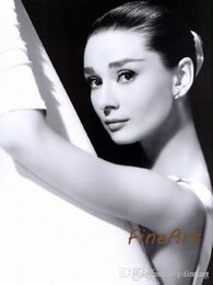 bedrooms paintings black white Australia - famous portraits photos audrey hepburn oil painting canvas painting black white canvas art bedroom decoration for home art décor