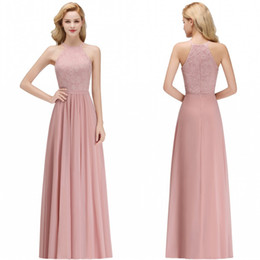 Summer beach wedding dreSSeS for gueStS online shopping - 2019 Cheap Lace Chiffon Dusty Rose Bridesmaid Dresses Halter Neck Sheath Beach Prom Gowns For Wedding Guest Evening Dress BM0057